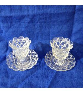 Paire de petits vases milieu de table en cristal