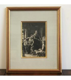 """Gravure """"scène de la vie familiale au XVIIIème"""