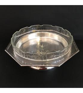Coupe en cristal et métal argenté