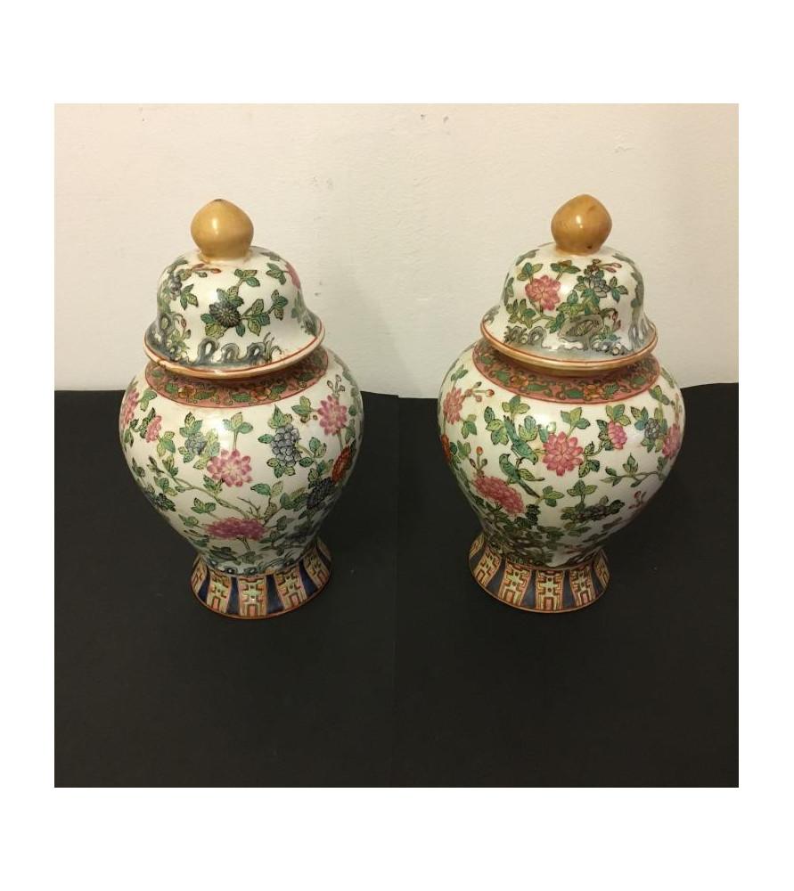 Paire de pots couverts chinois.
