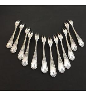 Fourchettes à escargot en métal argenté