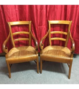 Paire de fauteuils à crosses paillés XIXème