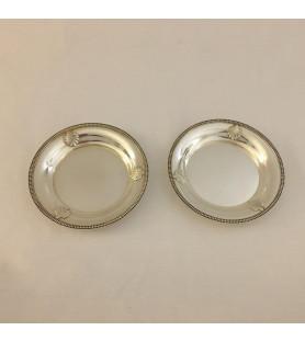 Paire de dessous de carafe en métal argenté