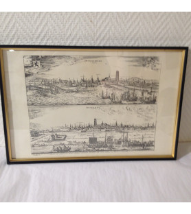 Reproduction d'une gravure: plan de la ville de Dunkerque