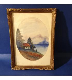 """Petite aquarelle """"Petite maison au bord d'un lac"""""""