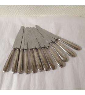 Coûteaux métal argenté style rubans croisés