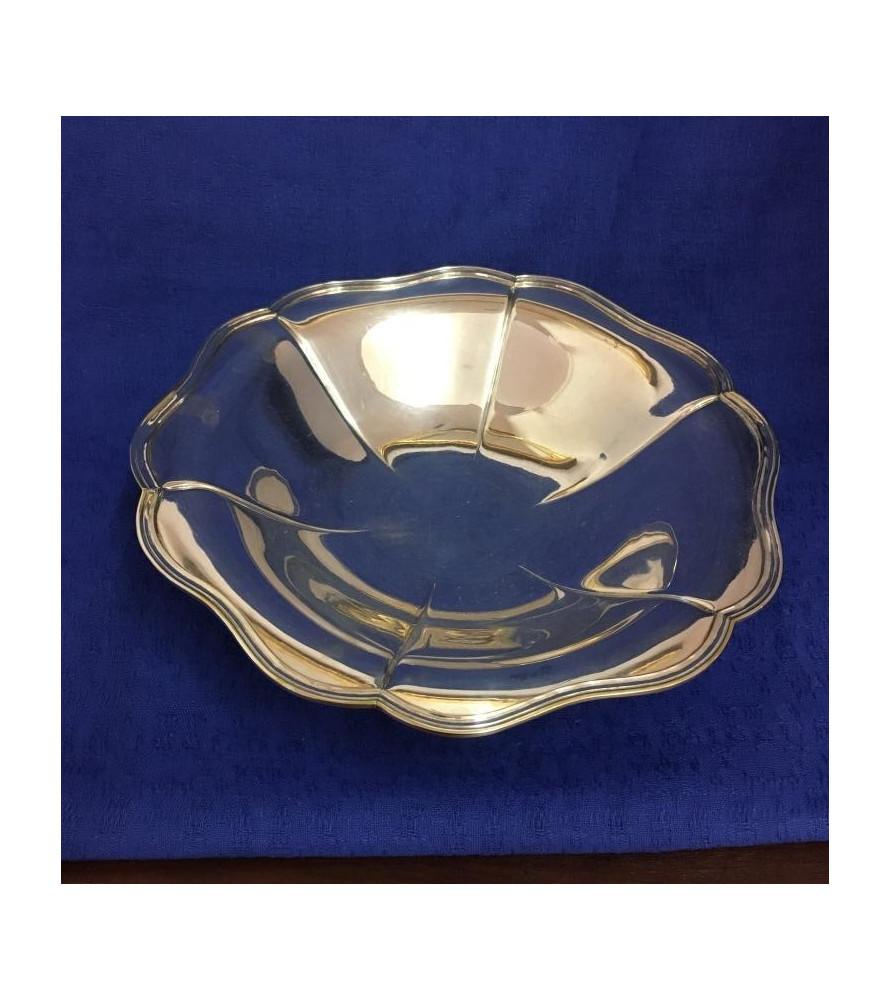 Panière ronde en métal argenté