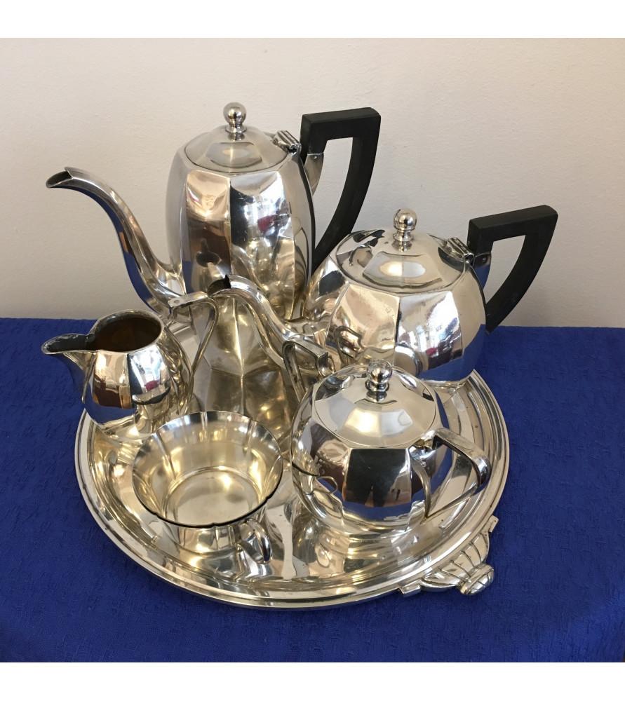 Service à thé café en métal argenté Ercuis