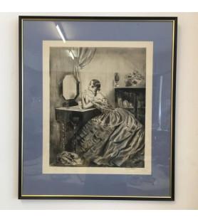 "Lithographie ""Femme à sa toilette"" Albert Ablett"