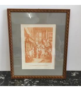 Gravure sanguine d'après Boucher: la Propreté villageoise