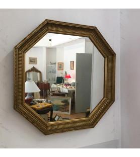 Miroir octogonal en bois doré