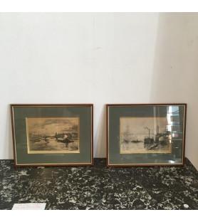 Paire de gravures Ville de Lyon 1930
