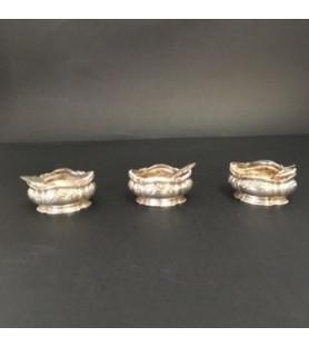 Paire de salières en métal argenté style Louis XVI