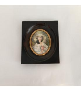 """Miniature sur ivoire """"Portrait de femme de qualité"""""""