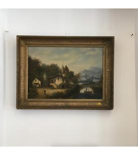 Ecole Française du début XIXème : Paysage bucolique à la rivière
