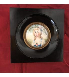 """Miniature """"Portrait de dame de qualité"""" Dame à la rose"""