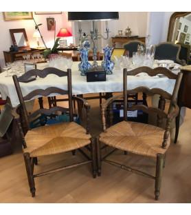 Paire de fauteuils paillés provençaux