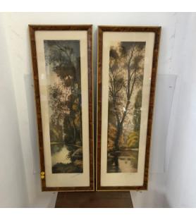 """Paire de lithographies 'Paysages d'automne"""""""