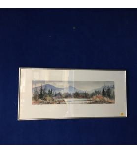 """Petite aquarelle """"Paysage de lac au Canada"""""""