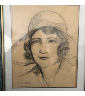 Portrait de femme au chapeau (Dessin des années 30)