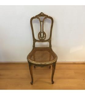 Chaise en bois sculpté doré Napoléon III