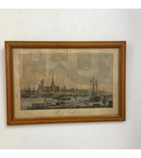 Gravure anglaise : Vue du port de Rouen