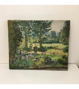 Huile sur toile: jardin à Estrablin de Jean Galland