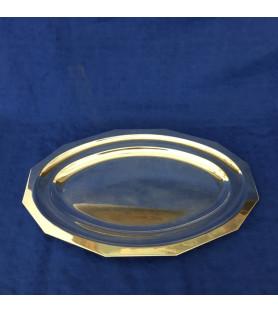Plat long à pans coupés en métal argenté