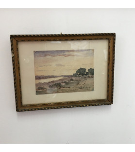Petite aquarelle: paysage de bord de rivière