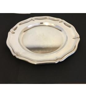 Christofle: Plat rond en métal argenté double filet