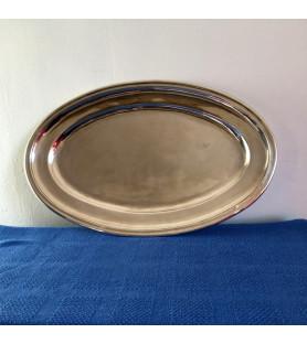 Grand plat long en métal argenté