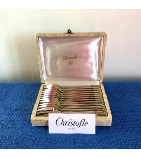 """""""Christofle"""" : Fourchettes à gâteau en métal argenté."""