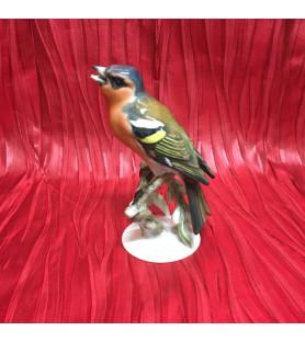 Oiseau en porcelaine allemande: Pinson des arbres.