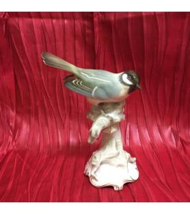 Oiseau en porcelaine allemande: Mésange charbonnière.