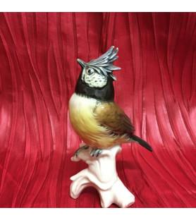 Oiseau en porcelaine allemande: mésange huppée.