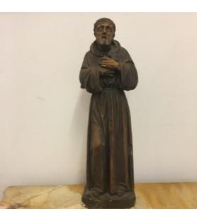 Saint François d'Assise : Buste en Plâtre patiné