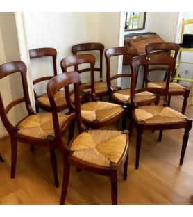 Ensemble de 8 chaises de salle à manger paillées