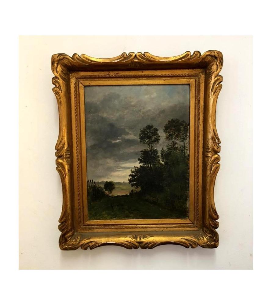 Huile sur panneau paysage XIXème