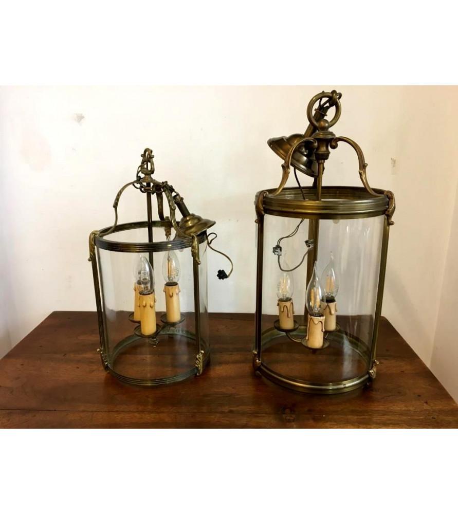 Paire de lanternes de vestibule en bronze doré