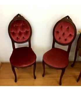 Paire de petites chaises médaillon style louis XVI