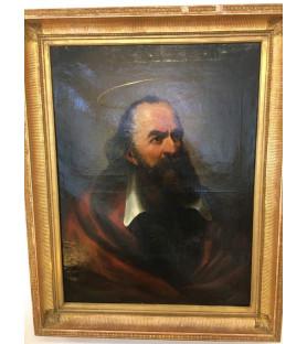 Portrait d'un Saint ... huile sur toile XIXème