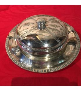 Légumier et son présentoir en métal argenté années 1930