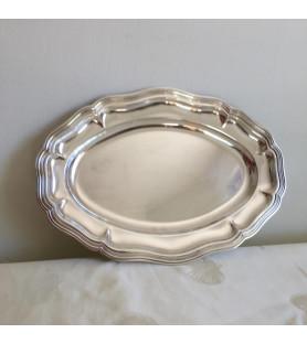 Plat long en métal argenté double filet