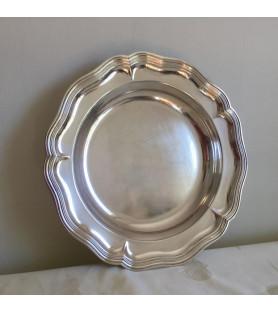 Plat creux rond en métal argenté double filet