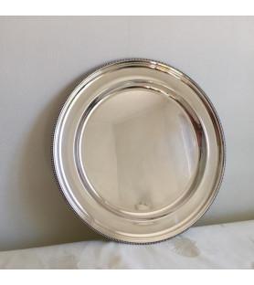 Plat rond en métal argenté motif perlé