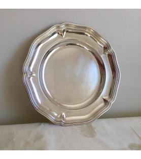 Plat rond en métal argenté double filet
