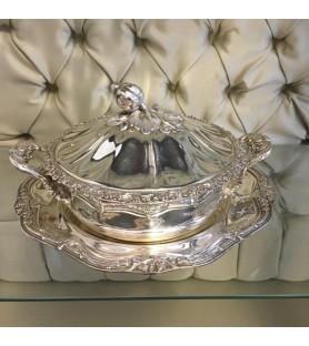 Légumier et son présentoir en métal argenté