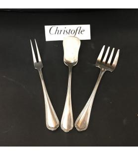 Christofle: couverts à mignardises en métal argenté monogrammés BS