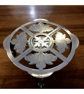 Chauffe plat, dessous de plat en métal argenté style Art Nouveau